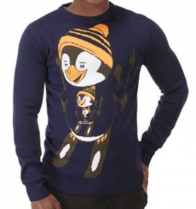 pull noel motif pingouin skieur